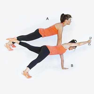 "Works entire body, particularly the core. <br><br> Start in the ""up"" part of a push-up position, with shoulders over wrists,"