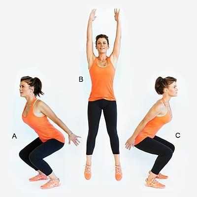 Not only does this move strengthen legs, but it also promotes agility and cardio. <br><br> Start facing right; bend knees and