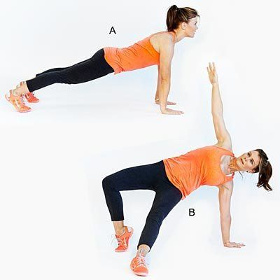 "Works entire body while promoting agility and coordination. <br><br> Start in the ""up"" part of a push-up position, with shoul"