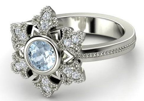"Buy it<a href=""http://www.gemvara.com/jewelry/snowflake-ring/round-aquamarine-14k-white-gold-ring-with-diamond/mg79g"" target="