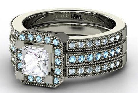 "Buy it <a href=""http://www.gemvara.com/jewelry/va-voom-ring/princess-white-sapphire-sterling-silver-ring-with-blue-topaz-aqua"