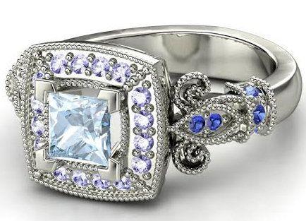 "Buy it <a href=""http://www.gemvara.com/jewelry/dauphine-ring/princess-aquamarine-14k-white-gold-ring-with-tanzanite-sapphire/"