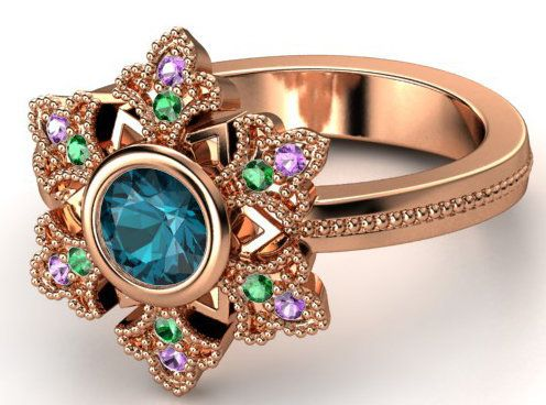 "Buy it <a href=""http://www.gemvara.com/jewelry/snowflake-ring/round-london-blue-topaz-14k-rose-gold-ring-with-amethyst-emeral"