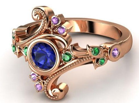 "Buy it <a href=""http://www.gemvara.com/jewelry/flamenco-ring/round-sapphire-14k-rose-gold-ring-with-emerald-amethyst/q71jk"" t"
