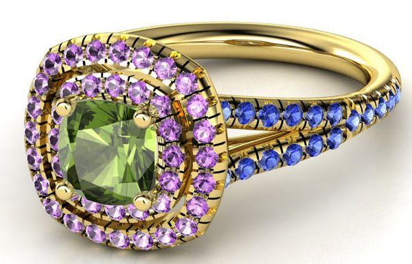 "Buy it <a href=""http://www.gemvara.com/jewelry/lillian-ring-6mm-gem/cushion-green-tourmaline-14k-yellow-gold-ring-with-amethy"