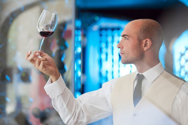 When you order wine, the sommelier will pour a little bit of wine in your glass, swirl it around and let it sit momentarily b