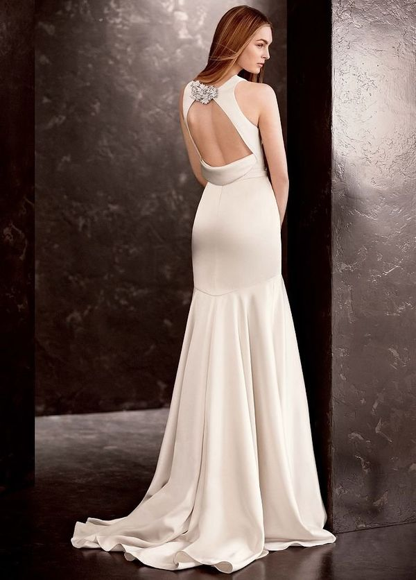 "Double Faced Satin Gown with Grosgrain Sash From <a href=""http://www.davidsbridal.com/"" target=""_blank"">David's Bridal</a> vi"