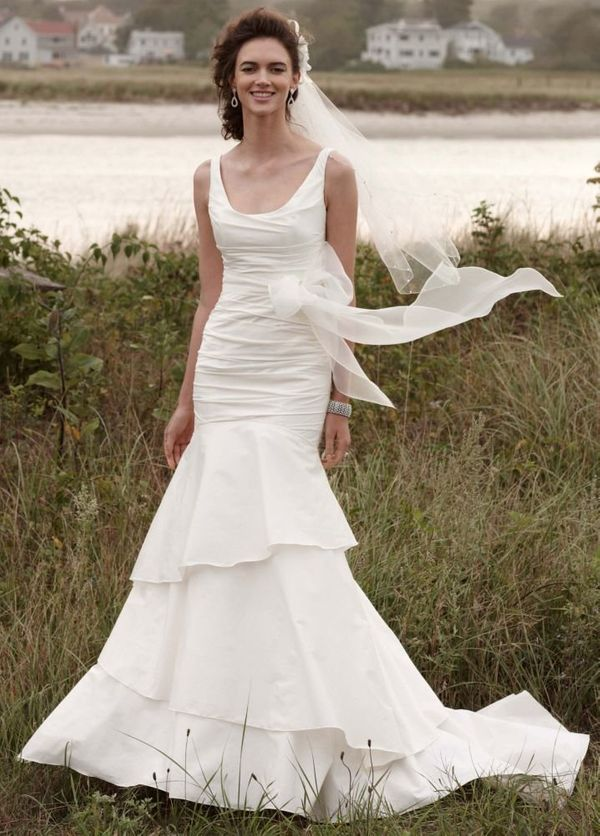"Taffeta Scoop Neck Ruched Bridal Gown with Tiering From <a href=""http://www.davidsbridal.com/"" target=""_blank"">David's Bridal"