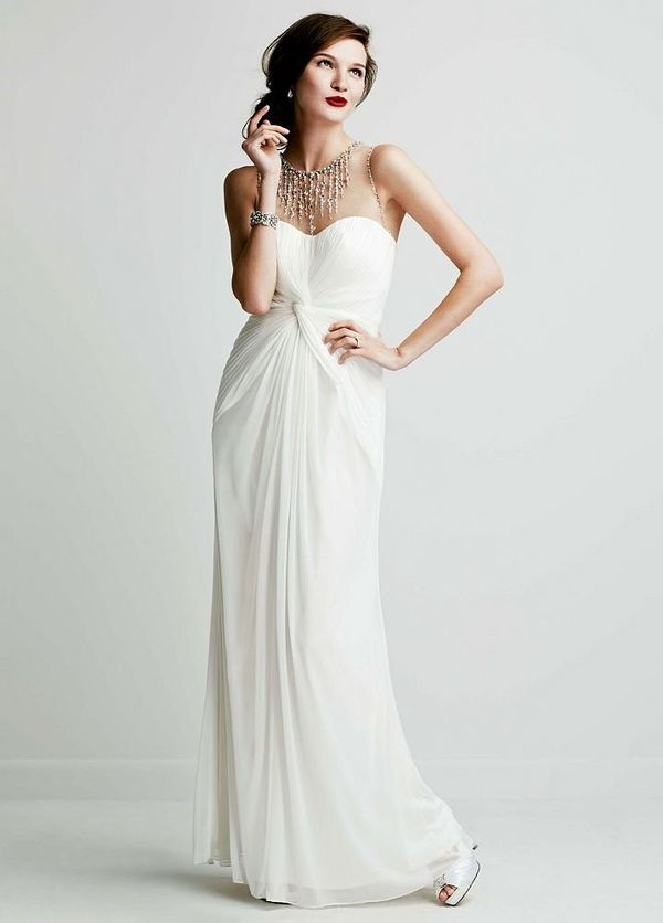 "Long Mesh Dress with Illusion Beaded Neckline From <a href=""http://www.davidsbridal.com/"" target=""_blank"">David's Bridal</a>"