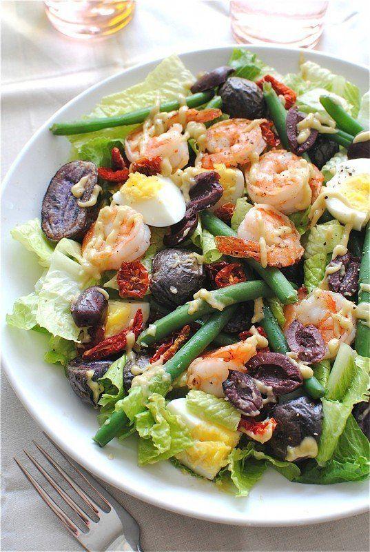 """<strong>Get the <a href=""""http://bevcooks.com/2012/10/shrimp-nicoise-salad/"""" target=""""_blank"""">Shrimp Nicoise Salad recipe</a> f"""