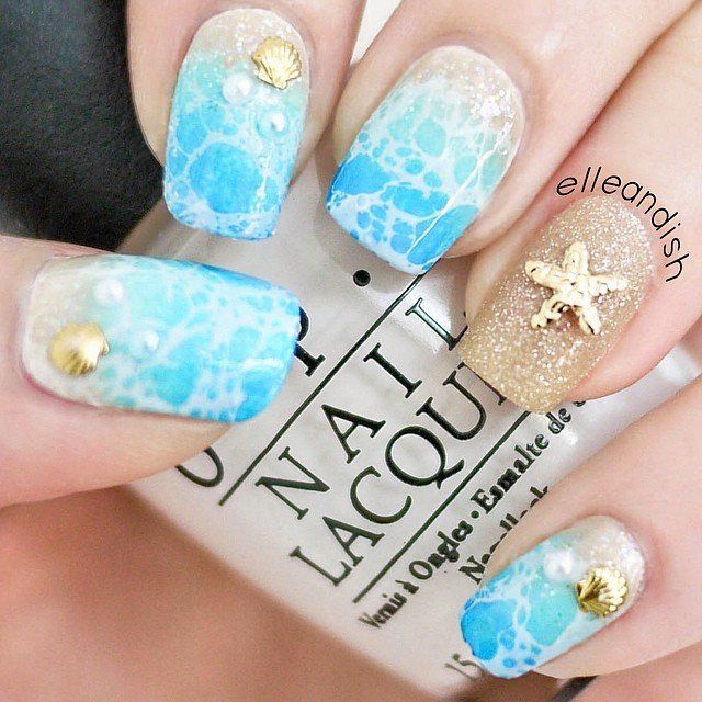 Get ready for spring break with seashells (try it yourself). - Tropical Nail Art: Sunsets, Sea Turtles And Sandy Beaches (PHOTOS