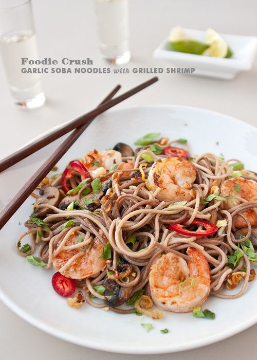 "Get the <a href=""http://www.foodiecrush.com/2012/03/craving-garlic-soba-noodles-with-grilled-shrimp/"" target=""_blank"">Garlic"
