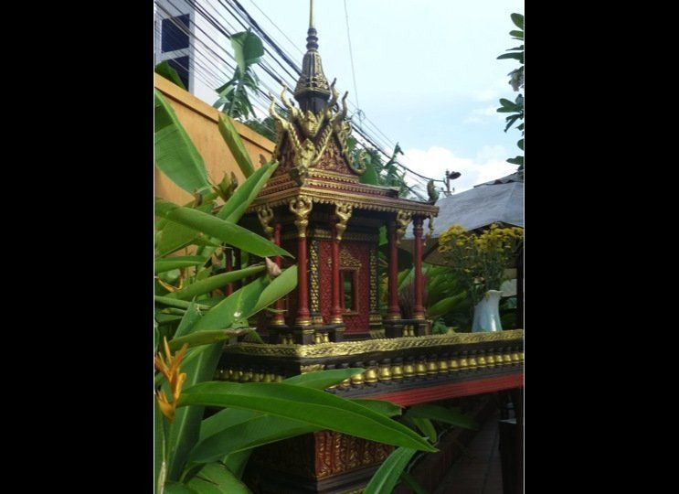 A spirit house outside a restaurant in central Phnom Penh, capital of Cambodia.