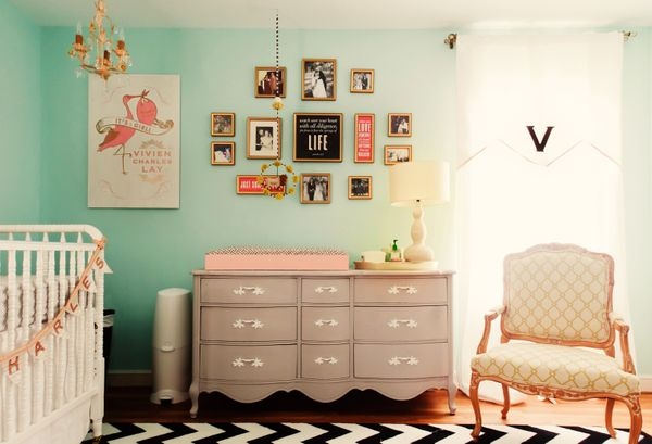 "Blogger Joni Lay found her ""baby blue"" room paint on the more aqua end of the spectrum, a shade that could easily suit either"
