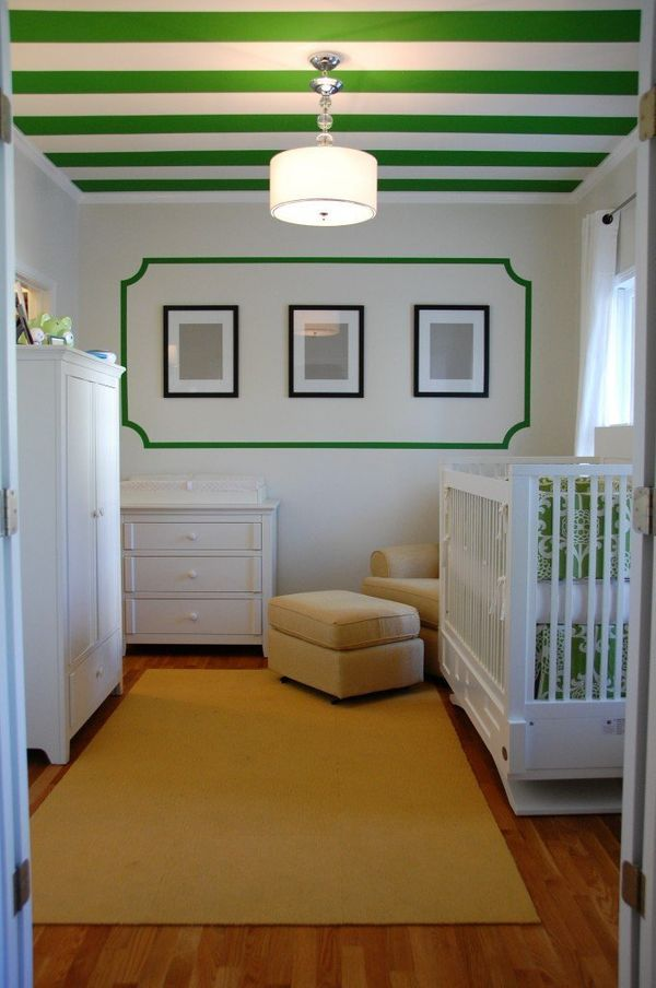 Kelly green and white stripes are a dead giveaway to the inspiration for this room -- the original Kate Spade shopping bag.