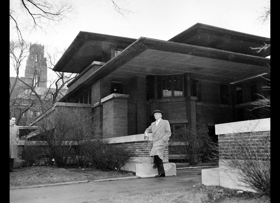 In this file photo of March 18, 1957, architect Frank Lloyd Wright visits Robie House, his 1909 Prairie style design, on Wood