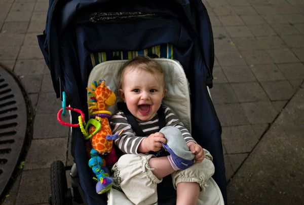We're glad you take your kid to the farmers market, but a stroller is an aggressive decision. Especially if that stroller is
