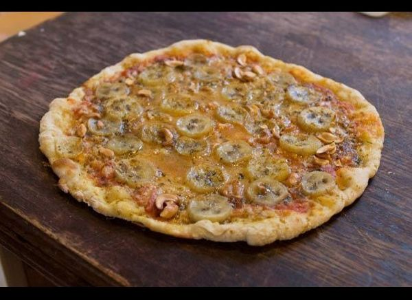 With a mixture of sweet, salty, and spicy, the popular banana curry pizza made with a smoky ham, smokier cheese, curry powder