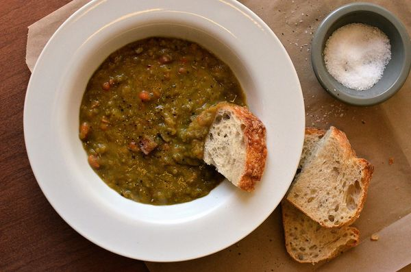 With a beautiful loaf of bread, you don't need much else than a simple bowl of soup to be content.