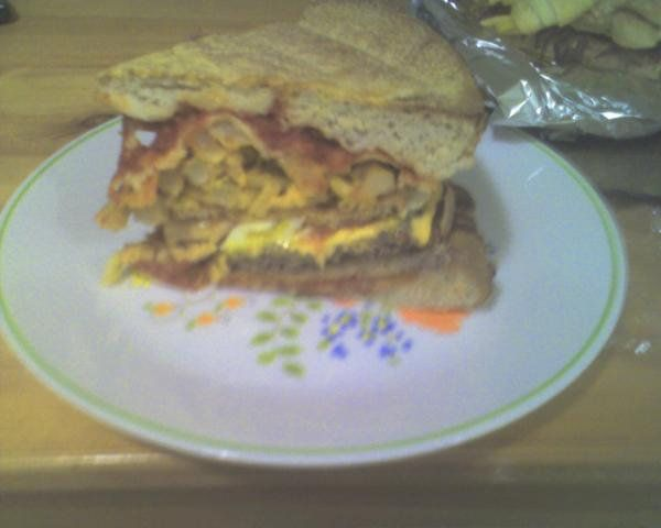Let us enlighten you as to what you're looking at: DiGiorno pizza, eggs, chicken tender, cheeseburgers, mac and cheese, pizza