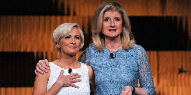 NEW YORK, NY - APRIL 25:  (EXCLUSIVE COVERAGE) Mika Brzezinski (L) and Arianna Huffington attend THRIVE: A Third Metric Live
