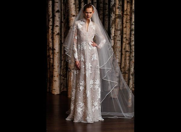 """Grand proportions! We're obsessed with this textured sheath-cathedral veil combo at <a href=""""http://www.naeemkhan.com"""" ta"""