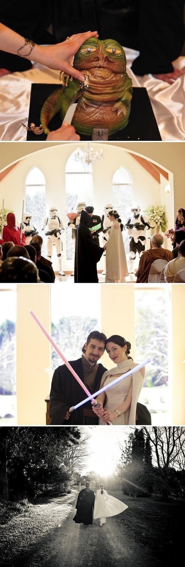 "<a href=""http://offbeatbride.com/2011/05/australian-star-wars-wedding"">Nadia and Dale</a> went <em>all in</em> on their <a hr"