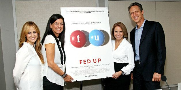 NEW YORK, NY - MAY 01:  Director Stephanie Soechtig, Executive Producer Laurie David, Narrator and Executive Producer Katie Couric and Dr. Mark Hyman attend the 'Fed Up' press conference at Regency Hotel on May 1, 2014 in New York City.  (Photo by Steve Mack/FilmMagic)