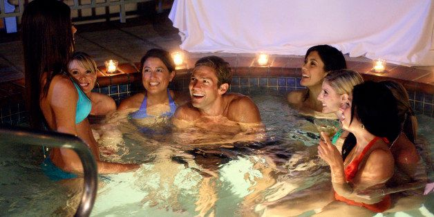 UNITED STATES - FEBRUARY 07:  THE BACHELOR: OFFICER AND A GENTLEMAN - 'Episode 1002' - As 15 bachelorettes settle into a mansion in the Hollywood Hills, the fairy tale begins. On his first group date, Andy and seven striking ladies take the Sunset Strip by storm with an evening of cocktails and bull riding that ends in the hot tub. Bevin can't handle the competition, becoming irritated, and seethes over perceived slights. Then one lucky bachelorette is singled out to spend a romantic evening aboard the Bachelor's private yacht, on 'The Bachelor: Officer and a Gentleman,' MONDAY, APRIL 9 (9:30-11:00 p.m., ET), on the ABC Television Network.  (Photo by Adam Larkey/ABC via Getty Images)