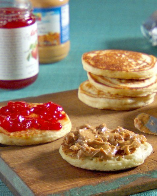 """<strong>Get the <a href=""""http://www.marthastewart.com/348787/pb-and-j-pancakes"""" target=""""_blank"""">PB and J Pancakes</a> recipe"""