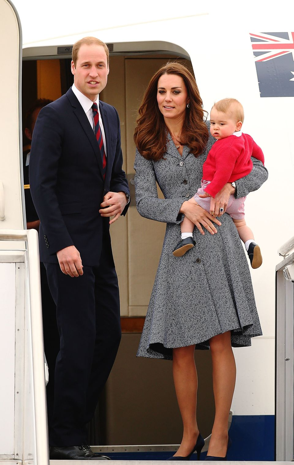 CANBERRA, AUSTRALIA - APRIL 25:  Catherine, Duchess of Cambridge, Prince William, Duke of Cambridge and Prince George of Camb