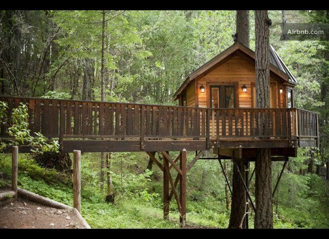 Hidden among Oregon's lush, wooded forests, this cabin-like treehouse comes equipped with two full-sized beds, a miniature fr