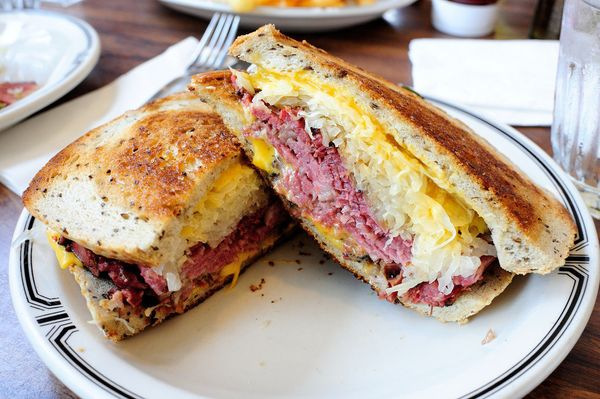 Corned beef, Swiss cheese, sauerkraut and Russian dressing on rye -- the Reuben is an impressive combination of so many diffe