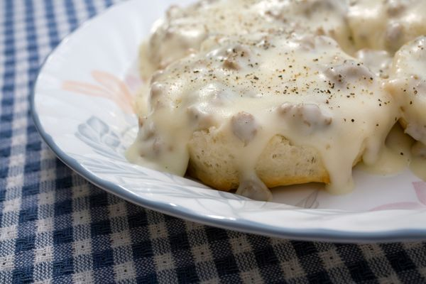 Biscuits and gravy make it totally acceptable to eat decadence on top of decadence.