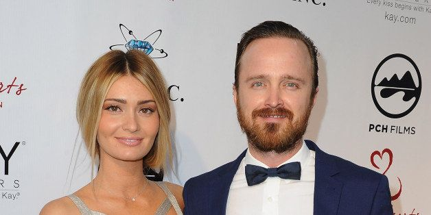 MALIBU, CA - MAY 10:  (L-R) Lauren Parsekian-Paul and her husband actor Aaron Paul attend the 'Open Hearts Foundation Gala' o