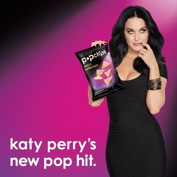 """Singer Katy Perry signed on to promote Popchips in 2012, shortly after actor Ashton Kutcher embarked on <a href=""""http://www.h"""