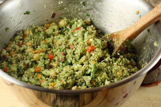 "<strong>Get the <a href=""http://www.macheesmo.com/2010/12/pesto-quinoa-salad/"" target=""_blank"">Pesto Quinoa Salad</a> from Ma"