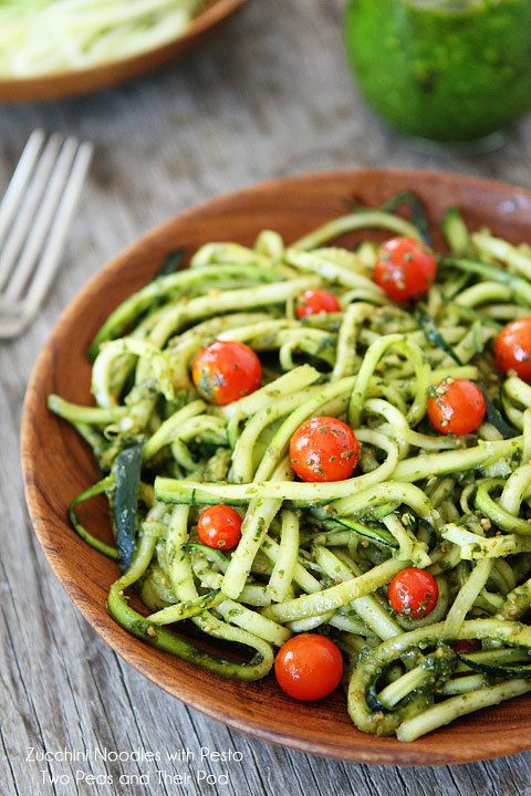 """<strong>Get the Zucchini Noodles with Pesto from <a href=""""http://www.twopeasandtheirpod.com/zucchini-noodles-with-pesto/#_a5y"""