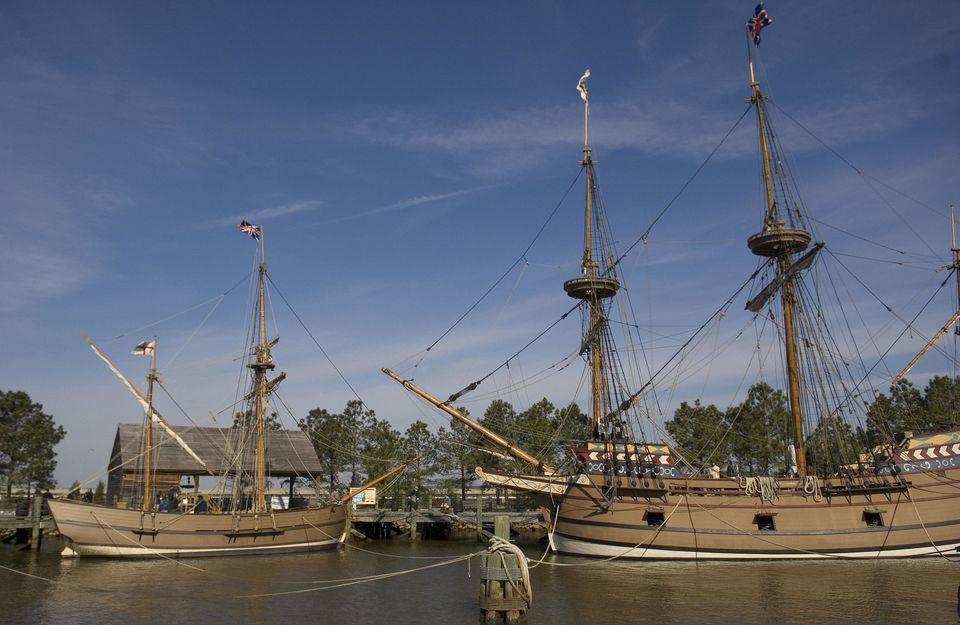 Jamestown, the birth of a nation 400 years ago.  The ships Discovery, (L), and the Susan Constant, (R), are moored to a pier