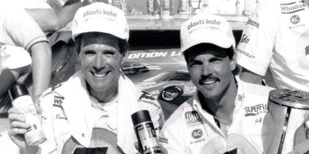 CONCORD, NC - MAY 28:  Darrell Waltrip and Jeff Hammond celebrate in Victory Lane as they acknowledges his second Plasti-Kote