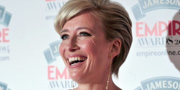 British actress Emma Thompson poses for pictures as she arrives for the 2014 Empire Awards in central London on March 30, 2014. AFP PHOTO / CARL COURT        (Photo credit should read CARL COURT/AFP/Getty Images)