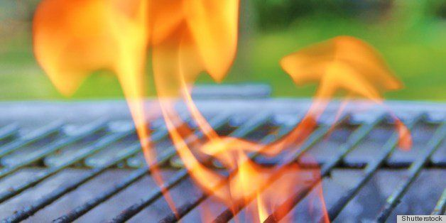 flames on the barbecue grill