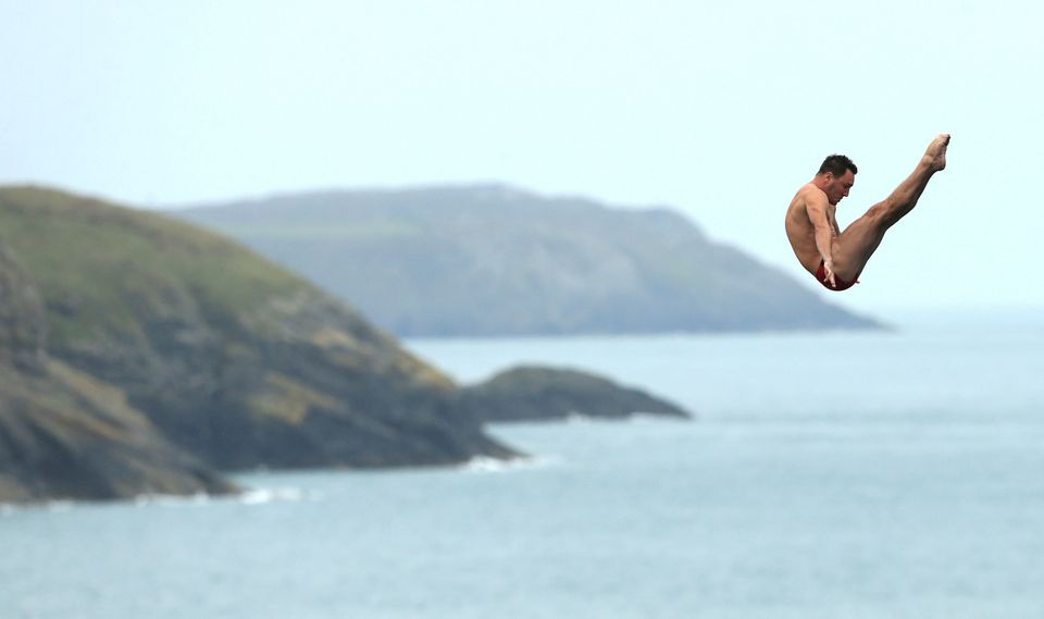 England's Blake Aldridge during day one of the Red Bull Cliff Diving World Series at the Blue Lagoon in Abereiddy.