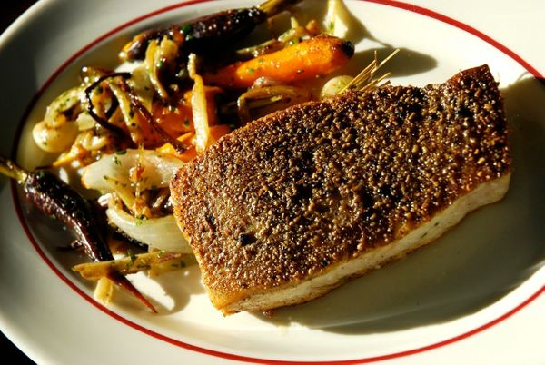 """<strong>Get the <a href=""""https://food52.com/recipes/5737-fennel-and-black-peppercorn-crusted-swordfish-with-pan-roasted-carro"""