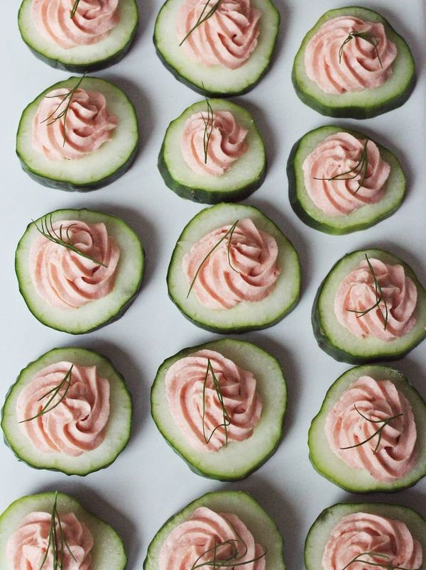 """<strong>Get the <a href=""""http://www.abeautifulmess.com/2013/07/easy-appetizer-salmon-mousse.html"""" target=""""_blank"""">Easy Salmon"""