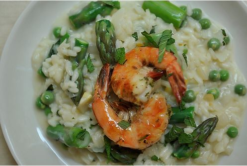 """<strong>Get the <a href=""""http://food52.com/recipes/3673-preserved-lemon-and-spring-vegetable-risotto-with-grilled-pernod-shri"""