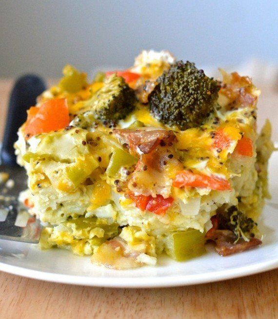"<strong>22.1 grams of protein</strong><br><a href=""http://apple-of-my-eye.com/2014/05/22/healthy-crockpot-breakfast-casserole"