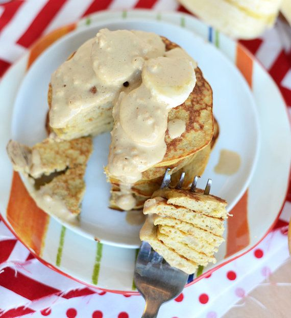 "<strong>20 grams of protein</strong><br><a href=""http://fitfoodiefinds.com/2014/02/3-ingredient-peanut-butter-pancakes/"" targ"
