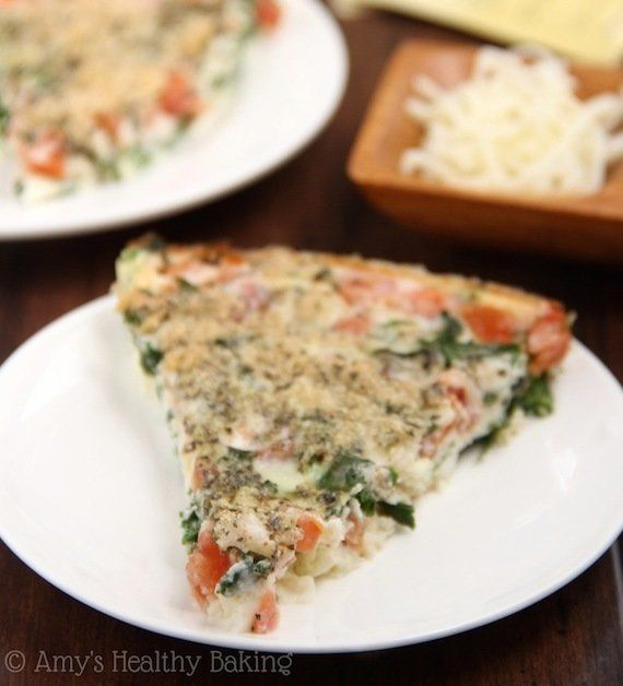 "<strong>16.8 grams of protein</strong><br><a href=""http://amyshealthybaking.com/blog/2014/03/26/skinny-kale-tomato-quiche/ ta"