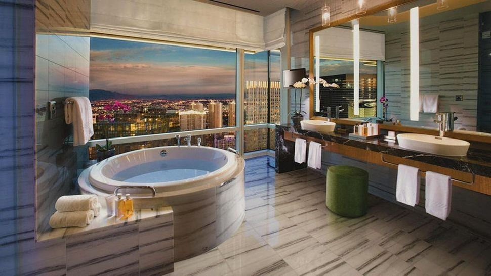 The Sky Villa bathroom inside Ari Resort & Casino offers stunning views of the Strip from the 58th floor.
